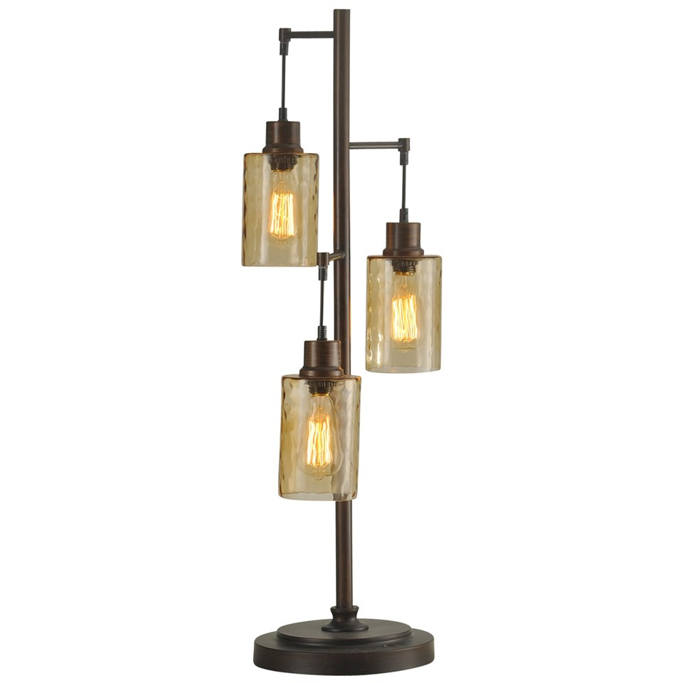 Bronze With Champagne Pendant Dimpled Glass Shade Table